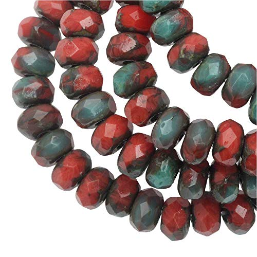 Red Coral Rondelle Beads - Raven's Journey Czech Glass Beads, Faceted Rondelle 3mm, Red Coral Opaque and Turquoise Opaque Mix with Picasso Finish, 1 Strand