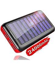 KEDRON Externer Akku 24000mAh Solar Powerbank, Solar Ladegerät mit 3 Ausgänge und Lighting & Micro Dual Input Power Bank Handy für iPhone, iPad, Samsung Galaxy und andere Smartphones