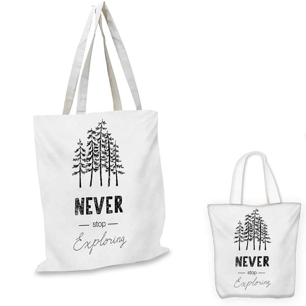 Adventure canvas messenger bag Motivational Never Stop Exploring Quote Typography and Trees Sketchy Vintage canvas beach bag Black White 16x18-13