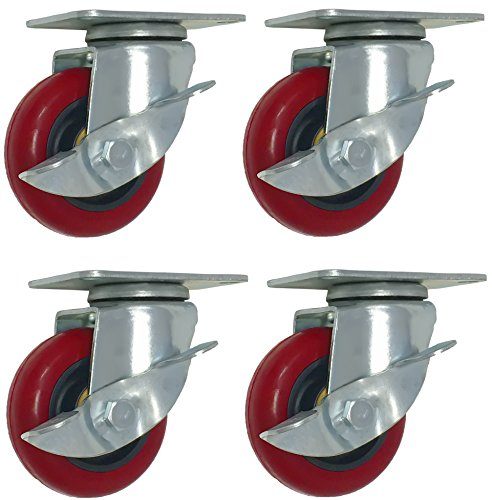 4 Pack Caster Wheels 300-Pound Swivel Lock Rigid Polyurethane Plate with Brake (3 inch with brake)