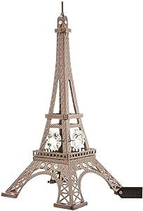 Gunmetal Grey Crystal Studded Eiffel Tower Ornament by Matashi