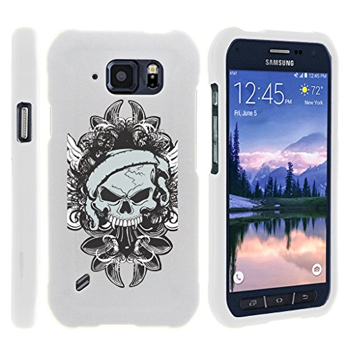 Miniturtle [Samsung Galaxy S6 Active case, S6 Active Cover] -[Snap Shell] 2 Piece Rubberized Hard White Case - Demon Skull (Snap Skulls White)