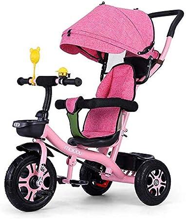 WLD Vehículo de entrenamiento para niños Triciclo para niños Cochecito de bebé Cochecito Bicicleta de equilibrio Bicicleta ligera con manija con toldo Valla de seguridad Rueda trasera Freno Bebé Rega