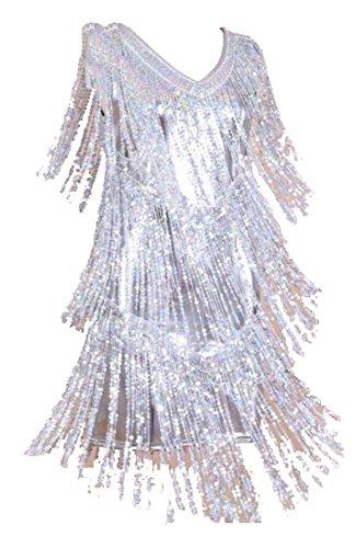 Mode Slim Fit Pompon Sequin Paillettes Moulante Argent Robe Midi Féminin Alion