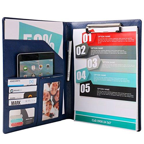 Plinrise PU Leather File Folders With Pockets Clipboard F...