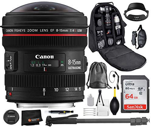 (Canon EF 8-15mm f/4L Fisheye USM Lens with Professional Bundle Package Deal Kit for EOS 7D Mark II, 6D Mark II, 5D Mark IV, 5D S R, 5D S, 5D Mark III, 80D, 70D, 77D, T5, T6, T6s, T7i, SL2)