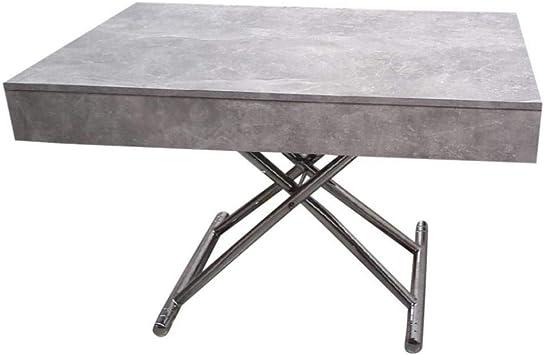 Table Basse Relevable Cube Coloris Beton Extensible 12 Couverts