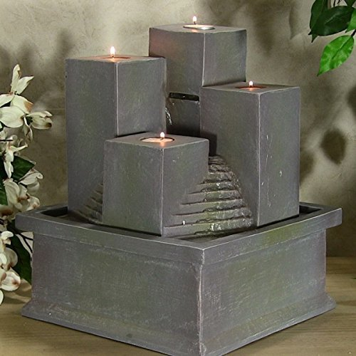 Tealight Pillar Tabletop Fountain by Sunnydaze Decor