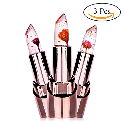 Spdoo 3pcs/set Jelly Flower Lipstick Lip Care Temperature Change Waterproof Long Lasting Moisturizer Lipstick