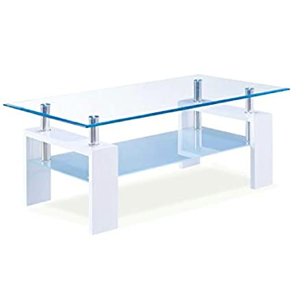 Merveilleux Image Unavailable. Image Not Available For. Color: Glossy White Coffee Table  With Clear Frosted Glass ...