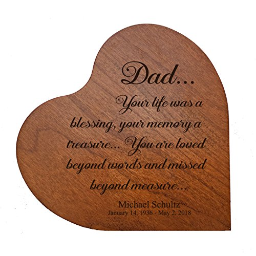 """(Personalized Engraved Dad, Your Life was a Blessing MDF Cherry Family Memorial Heart Block Custom Sympathy Gift Ideas for mom, dad, Son, Daughter, Brother, Sister 5"""" x 5"""" (Dad Your Life))"""
