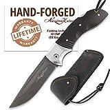 Nazarov Knives Folding Knife – Pocket Knife OWL – D2 Steel – Hornbeam Handle – Durable Leather Sheath