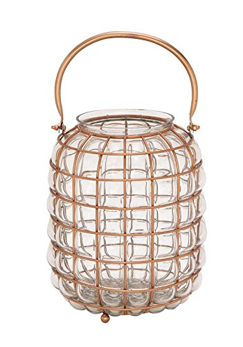 Deco 79 49667 Glass & Metal Lantern Copper