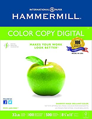 Hammermill Paper, Color Copy Digital, 32lb, 8.5 x 11, Letter, 100 Bright, 500 Sheets / 1 Ream (102630), Made In The USA