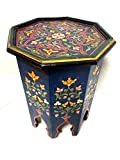 Moroccan Octagonal Hand Painted Accent Table Moorish Design Furniture (BLUE)