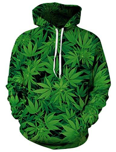 (Unisex Green Weed Fleece Hoodie 3D Print Marijuana Cool Pullover Hooded Sweatshirt)