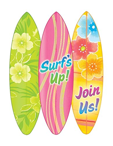Sun-sational Luau Party Hang Ten Invitations with Envelope Value Pack , Paper, 5