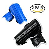 2 Pair Youth Soccer Shin Guards, Kids Soccer Shin Pads Board, Lightweight and Breathable Child Calf Protective Gear Soccer Equipment for 5-12 Years Old Boys Girls Children Teenagers (Black&Blue)