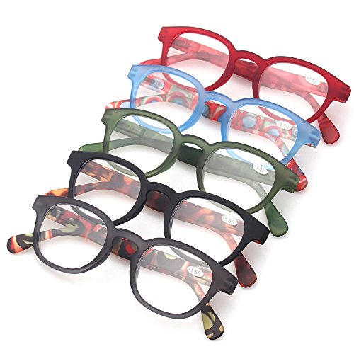 Reading Glasses Fashion Men and Women Readers Spring Hinge with Pattern Design Eyeglasses for Reading (5 Pack Mix Color, 2.0) by Kerecsen (Image #1)