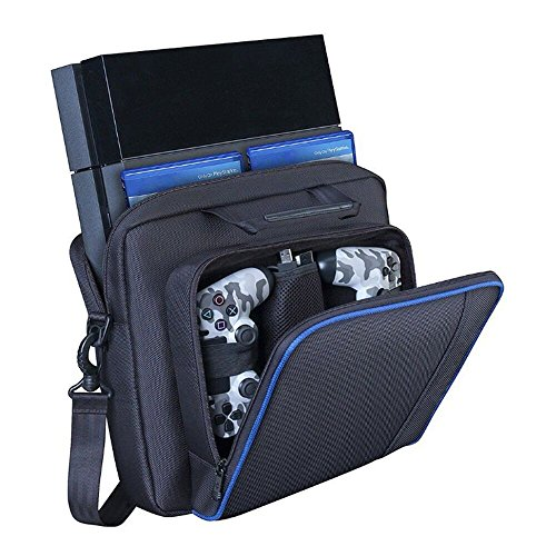 Zerich PlayStation Carrying Case, Sturdy Durable Portable Nylon Taffeta Travel Shoulder Bag Videogame Console Bag for PS4, PS4 Slim #81050