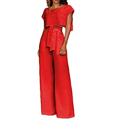 Women 2 Piece Jumpsuit Casual Crop Tops High Waisted Wide Leg Rompers