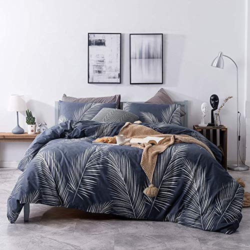 mixinni Luxury 3 Pieces White Leaf Print Duvet Cover Set, 100% Natural Cotton Navy Blue Bedding Set with Zipper Ties Botanical Comforter Cover,Ultra Soft, Breathable Hypoallergenic-Queen/Full Size