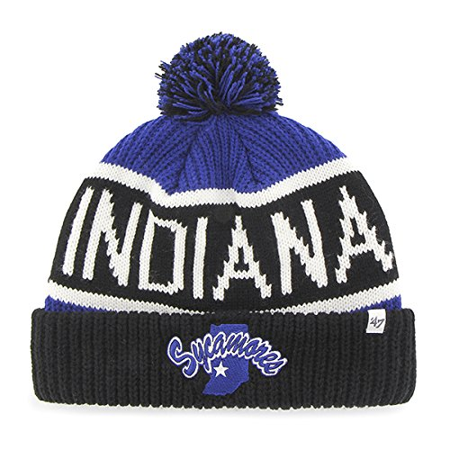 '47 Indiana State Sycamores Cuff Calgary Beanie Hat with Pom - NCAA Cuffed Winter Knit Toque Cap