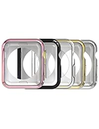 Apple Watch Case, [5 Packs] Simpeak Soft Protective Cover iWatch Frame for Apple Watch 38mm Series 2 Series 3, Transparent, Black, Gold, Rose Gold, Silver