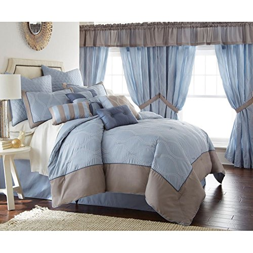 Amrapur Overseas | Tropez 24-Piece Geometric Comforter Set (Blue, Queen)