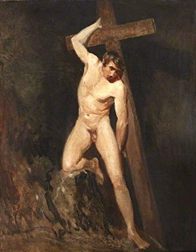 """Academic Study of a Male Nude in the Same Pose as a Figure in Michelangelo's Last Judgement by John Constable - 16"""" x 20"""" Premium Canvas Print"""