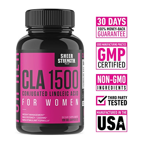 Extra Strength CLA for Women 1500mg High Potency Natural Weight Loss Supplement Conjugated Lineolic Acid from Safflower Oil Non GMO Stimulant Free 120 Softgels Sheer Strength Labs