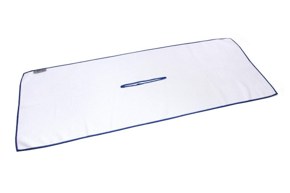 Center Cut Microfiber Golf Towel 16''x40'' (White w/Blue Edge) by Clothlete