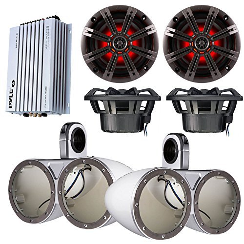 "Marine Speaker Package 4x Kicker KM654LCW 6.5"" LED Light Marine Boat Audio Speakers Bundle Combo With 2x Kicker KMTEDW Dual Wakeboard Tower Enclosures + Waterproof Bluetooth 400 Watt Amplifier"