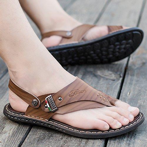 ZHNAGJIA Sommer Sandalen, Die Zehen Männer, Outdoor Beach Schuhe, Sandalen, Hausschuhe, Sandalen, Schuhe Für Herren, 42, Khaki 6203