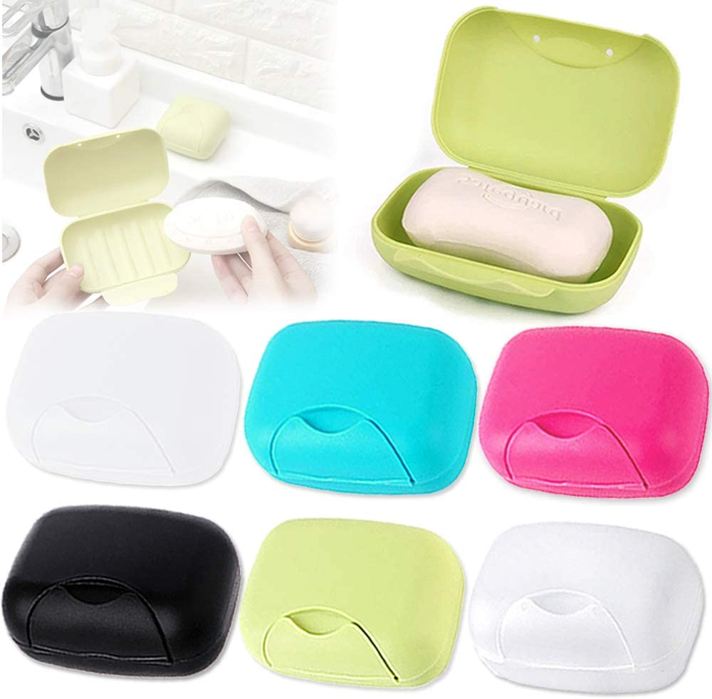 Yvjnxxan 6 Portable Candy Color Plastic Soap Dish,Soap Holder Container,Portable Plastic Soap Case Holder for Bathroom Shower Home Outdoor Hiking Camping Travel