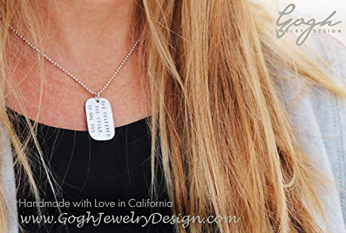 She believed she could, so she did – sterling silver inspirational dog tag necklace.
