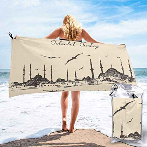 (K0k2to Fast Drying Beach Travel Camping Towel,Sketch of Retro Istanbul Skyline with Gulls by Bosphorus Ottoman Heritage,Quick Dry Lightweight Bath Towel)