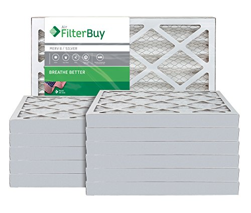 AFB Silver MERV 8 18x18x2 Pleated AC Furnace Air Filter. Pack of 12 Filters. 100% produced in the USA. by FilterBuy