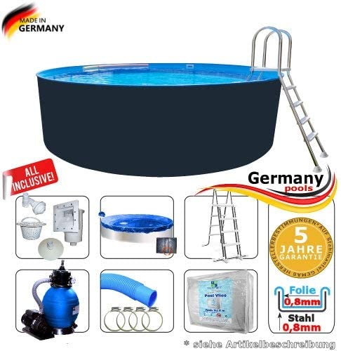 Germany-Pools Piscina Redonda de 400 x 125 cm, Juego Completo de ...