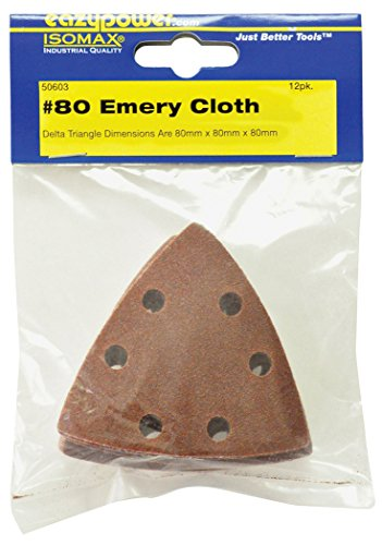 Eazypower 50603 Emery Cloth 80 Grit Sanding Pad Assortment (12 Each), 93 x 93 x 93 mm
