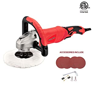 """Toolman Electric Polisher Sander Paint Care Tool 7"""" 12A amps Variable Speed 500-3200RPM with Hook and Loop works with DeWalt Makita Accessories"""