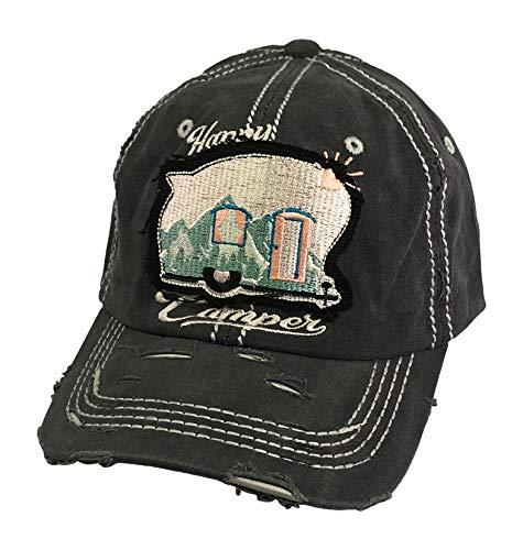 Happy Camper Frayed Patch Washed Baseball Hat - Ponytail Baseball Cap (Charcoal Black)