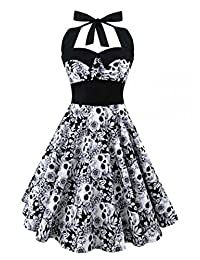 Retro Vintage Style Sleeveless 3D Skull Floral Printed Summer Women Dress Halter
