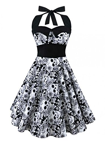 Retro Vintage Style Sleeveless 3D Skull Floral Printed Summer Women Dress Halter Plus Size Party Sexy Casual Dress Black M