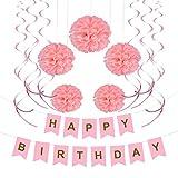 Naler Pink Birthday Decoration Set Happy Birthday Banner Bunting + 10 x Pom Poms Flowers Kit, and 15 Hanging Swirl for Kids Birthday Party Bridal Shower Baby Shower