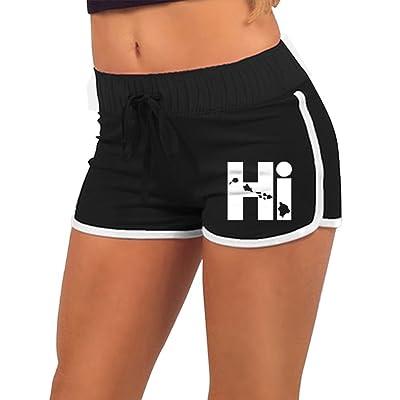 0fa1c08ef8f98 KENYYIOP Hi Hawaii Womens Yoga Shorts Workout Shorts Summer Pants Running  Shorts Drawstring Waist Running Shorts