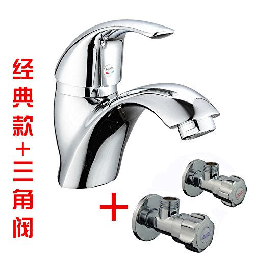 Classic + Hose + Angle Valve Hlluya Professional Sink Mixer Tap Kitchen Faucet The copper basin faucet basin mixer hot and cold lowered basin basin mixer taps with water inlet pipe, hose, Angle Valve
