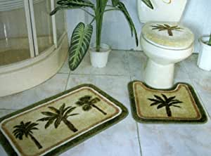 Amazon.com: 3 Pieces Tropical Green Palm Tree Bathroom