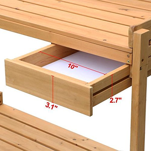 go2buy Wood Potting Bench Outdoor Garden Planting Work Station Table Stand Natural Finish by Gotobuy (Image #5)