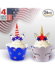 4th of July Decorations, Unicorn Cupcake Toppers Wrappers for National Independence Day